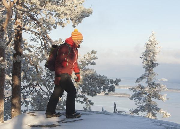 Image: Hiker in winter in Koli National Park.